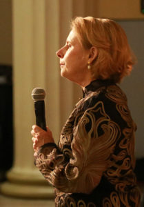 Leslie Freyburg Chanting at Gala for Patricia Walden – October, 2016